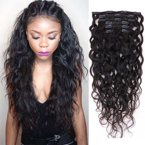 Natural Curly Clip in Human Hair Extensions for Black Women Natural Wave Real Human Remy Hair Clip in Extension for African American Natural Hair Extensions Clip ins 7Pcs/Set 120Gram(14inch)