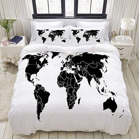 Sdbuyw Zq Parure De Lit Carte Du Monde Noir Avec Ensemble Des Globes Terrestres 1 Housse De Couette 140x200 2 Taies D Oreillers Amazon Fr Cuisine Maison