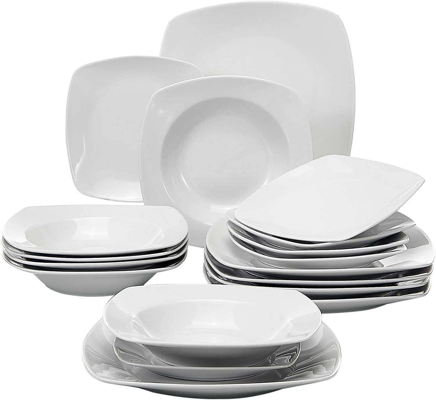 Malacasa ELVIRA 18pcs Porcelain Ceramic Coffee Tea Cups Saucers Dessert Plates
