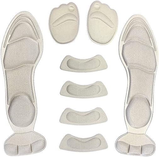 [Adada] レディース ハイヒール インソール 中敷き 衝撃吸収 滑り止め 4Dアーチサポート 靴ずれ 足底筋膜炎 外反母趾防止 サイズ調整可能 3色、4Dインソール×1组+前足パッド×1组+踵パッド×2组