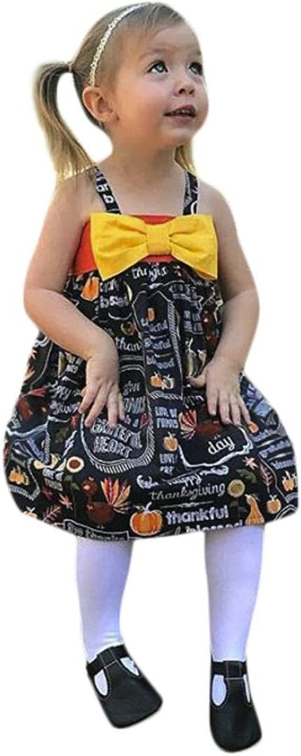 Baby Girls Pumpkin Bow Party Dress Halloween Clothes Dresses