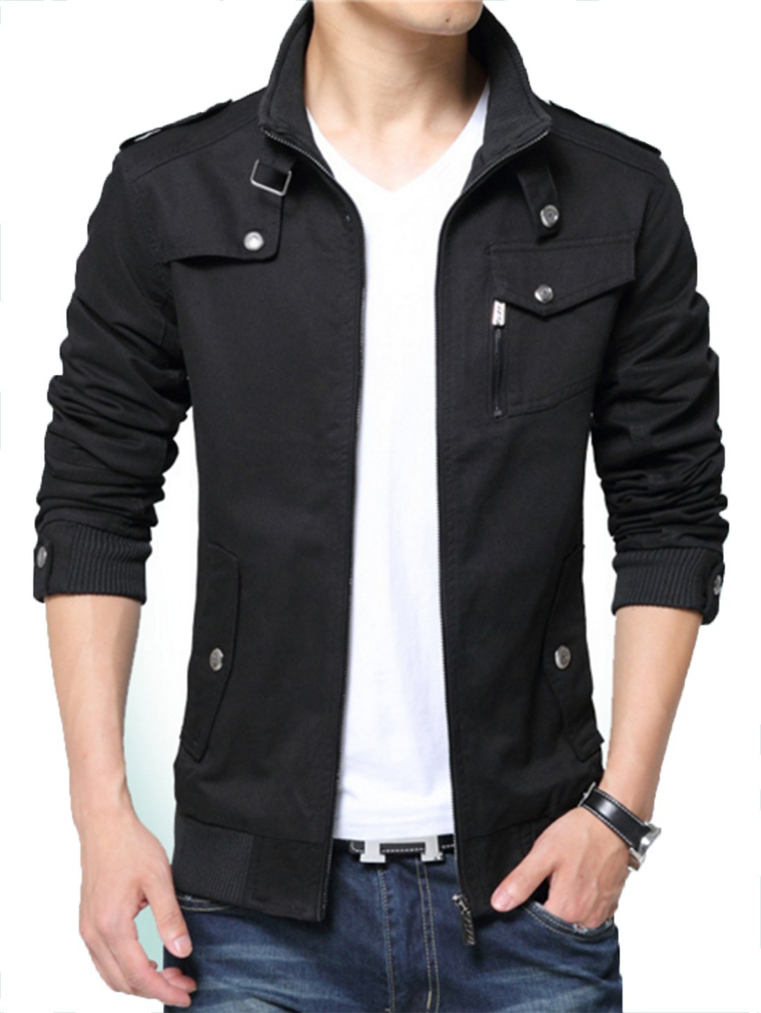 Kjdshwa Men's Long Sleeve Full Zip Lightweight Jacket(Black 888,M Size)