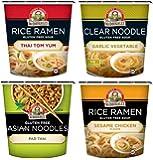 Dr. McDougall's Gluten Free Asian Noodle Cups 4 Flavor Variety Bundle, 1 Ea: Thai Tom Yum, Garlic Vegetable, Pad Thai, and Sesame Chicken, 1.1-2 Oz.
