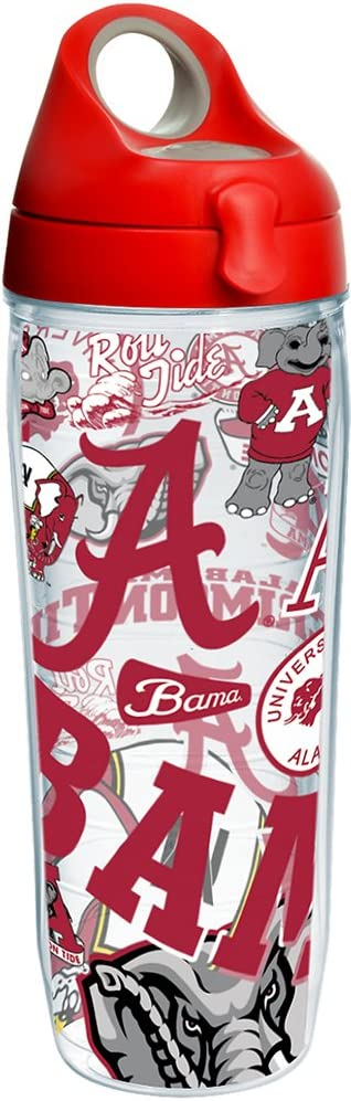 Tervis NCAA Alabama Crimson Tide All Over Water Bottle With Lid, 24 oz, Clear