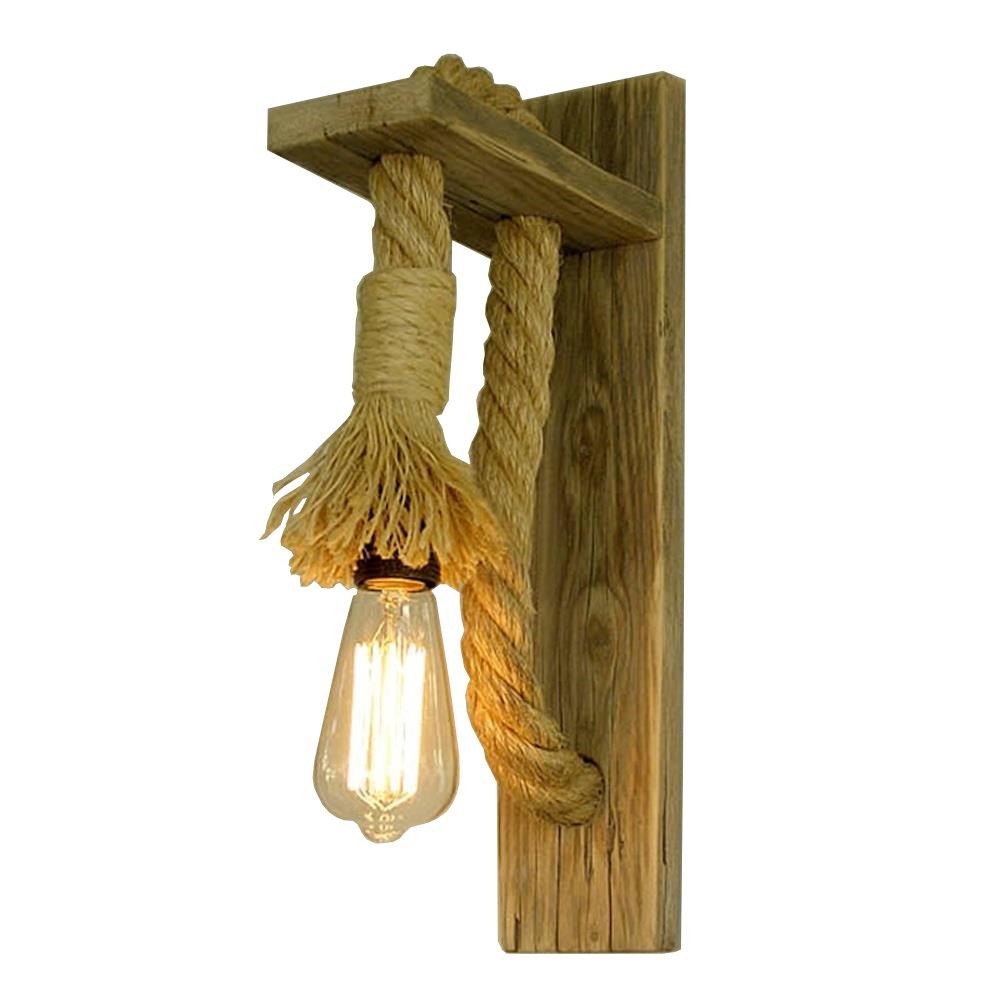 Shubiao Lámpara de Pared de Madera sólida Creativa Lámpara de Pared Decorativa de la Cuerda del cáñamo del Pasillo de la Escalera Retro dongdong