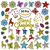 Christmas Tree Ornaments (50 PCS) Christmas Ornaments Set, Christmas Home Decorations, X-mas Holiday Indoor and Outdoor Hanging Décor, Pinecones, Stars, Bells, Reindeers, Candy Canes, Butterflys, Sant