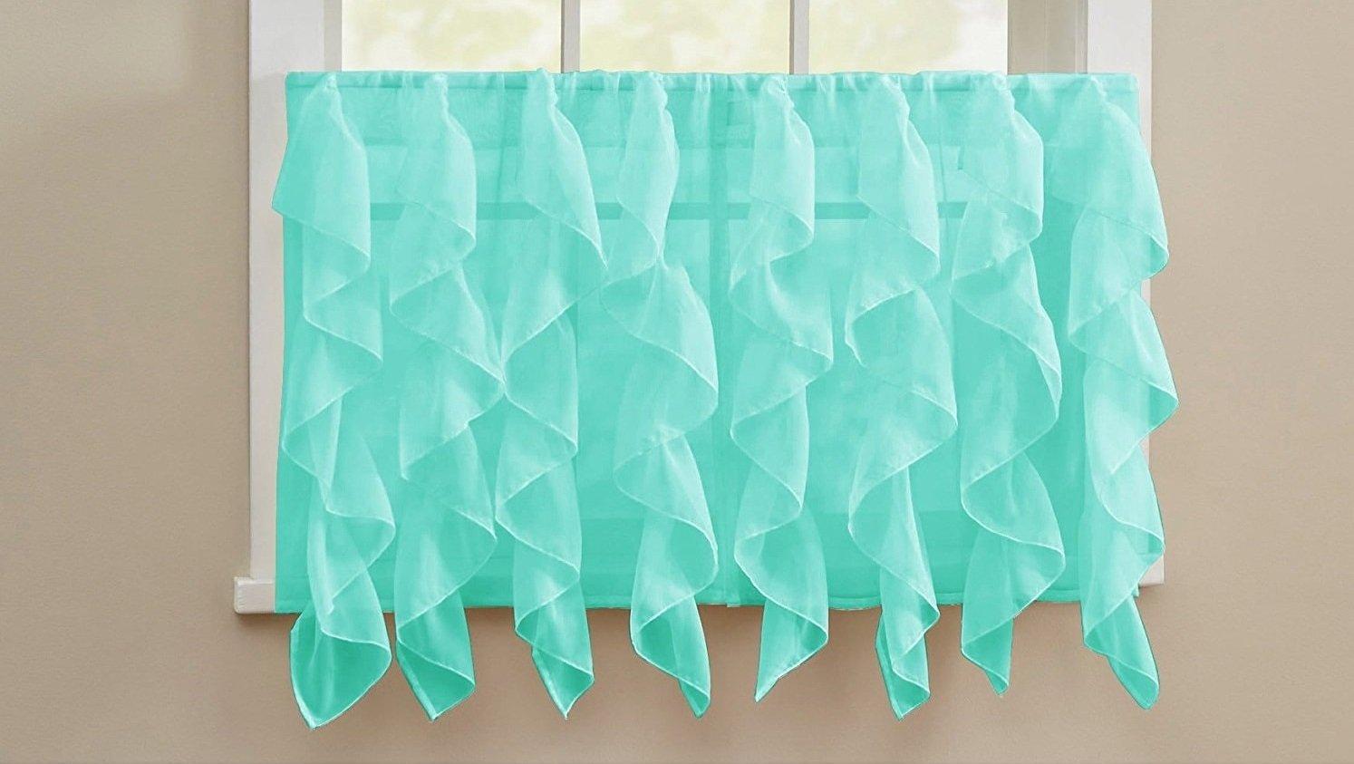 Lorraine Elegance Cascading Waterfall Ruffled Sheer Voile Kitchen Curtain Tier Pair (52'' x 24'') - Spa Blue