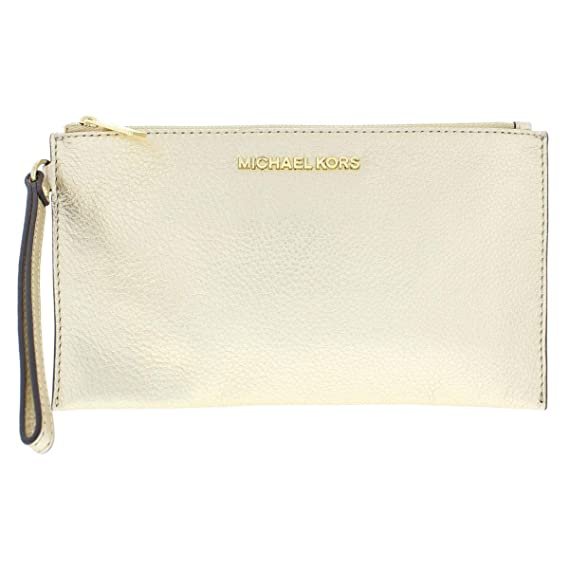 6e12634d764 Michael Kors Pebbled Leather Bedford Lg Zip Clutch Wristlet in Pale Gold:  Amazon.in: Clothing & Accessories