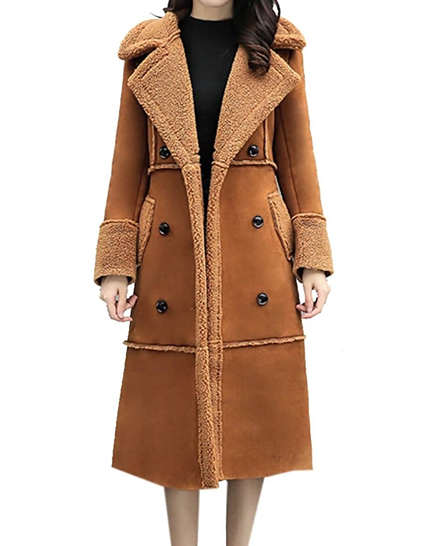 1 LEISHOP Women DoubleBreasted Long Wool Blend Pea Coat Trench Coat Overcoat