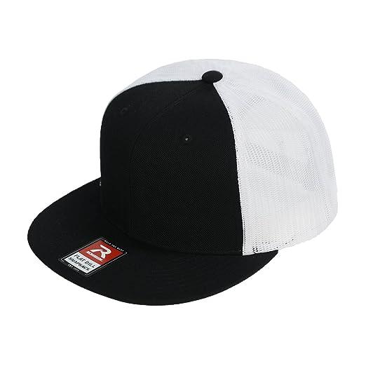 8457c551c5a6e8 Richardson Wool Trucker Snapback with Adjustable Plastic Back (Black White)