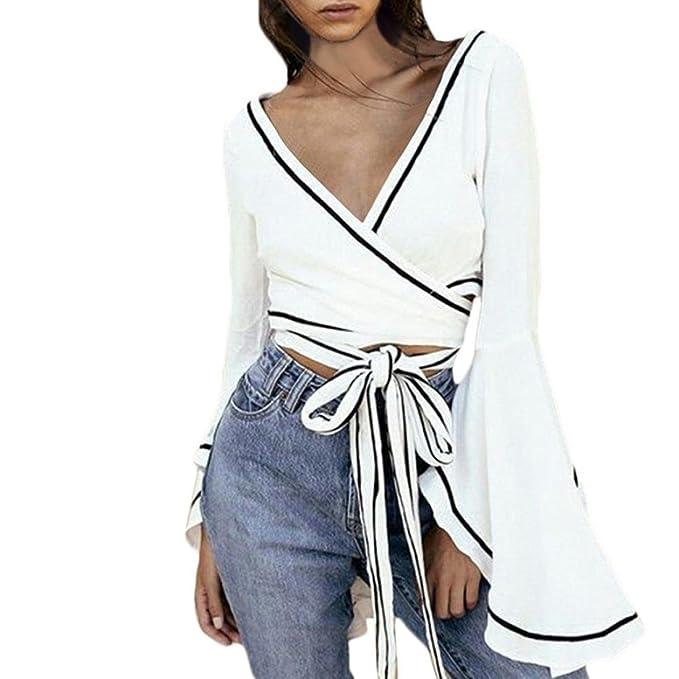 97c9fc63048 Kangma Women Blouse Sexy V Neck Shirt Flare Sleeve Cross Bandage Wrap Crop  Tops White at Amazon Women s Clothing store