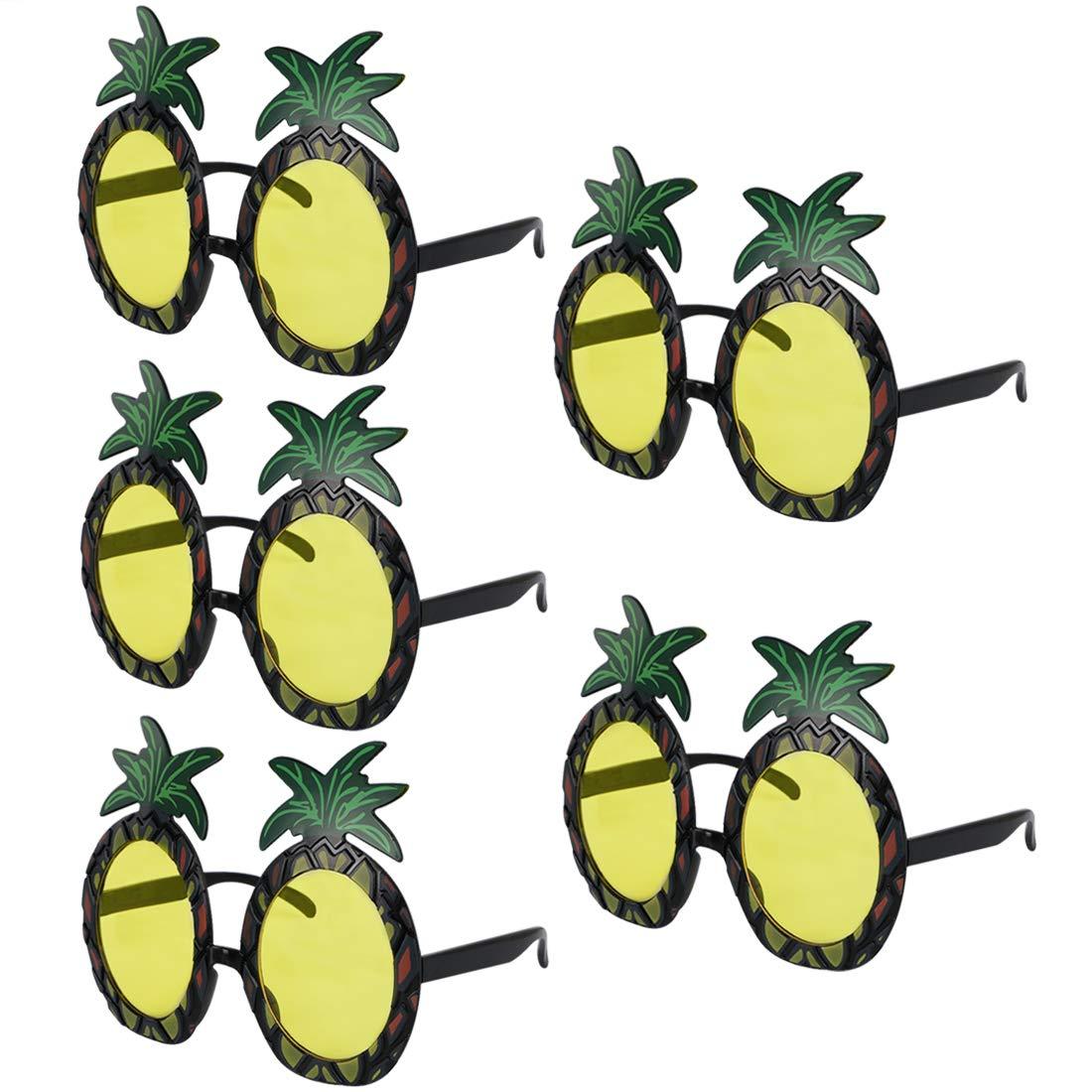 kilofly 5 Pineapple Sunglasses Hawaiian Luau Summer Pool Party Favor Photo Props KTG364pc5