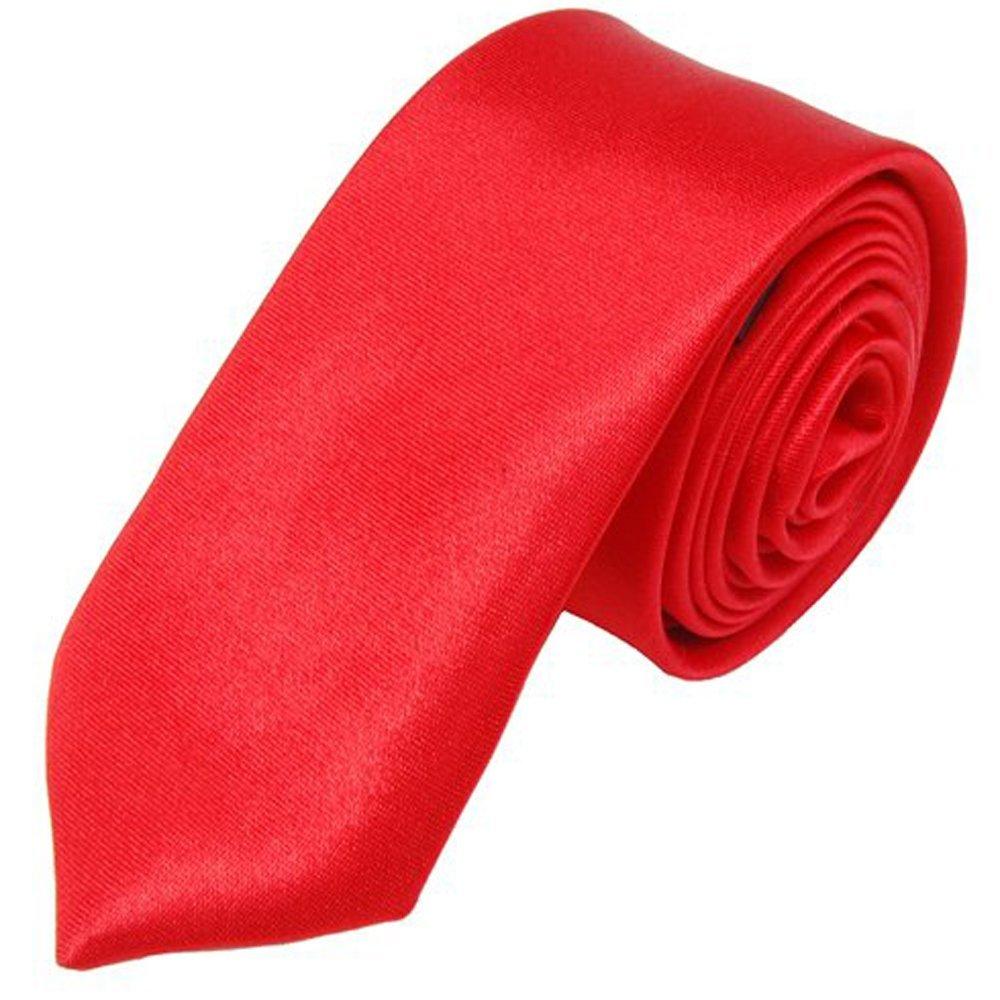 Gleader Unisex cravatta casuale sottile cravatta stretta - rosso solido