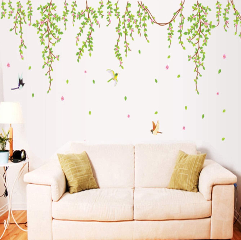Etiqueta Engomada De La Pared Grande Hoja Verde Rosa Flores Pájaro Applique Decoración Móvil Casa Fondo De Pantalla Habitación Casa Pegatina 75 * 195Cm Verde