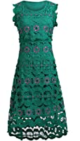 Celebritystyle women's green scallop lace edge dress (S, geen)