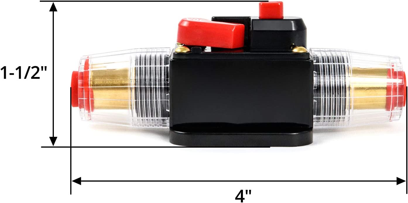 QWORK 2 Pack 30 Amp 12-24V DC Resettable Fuse Circuit Breaker for Car Audio Marine Boat