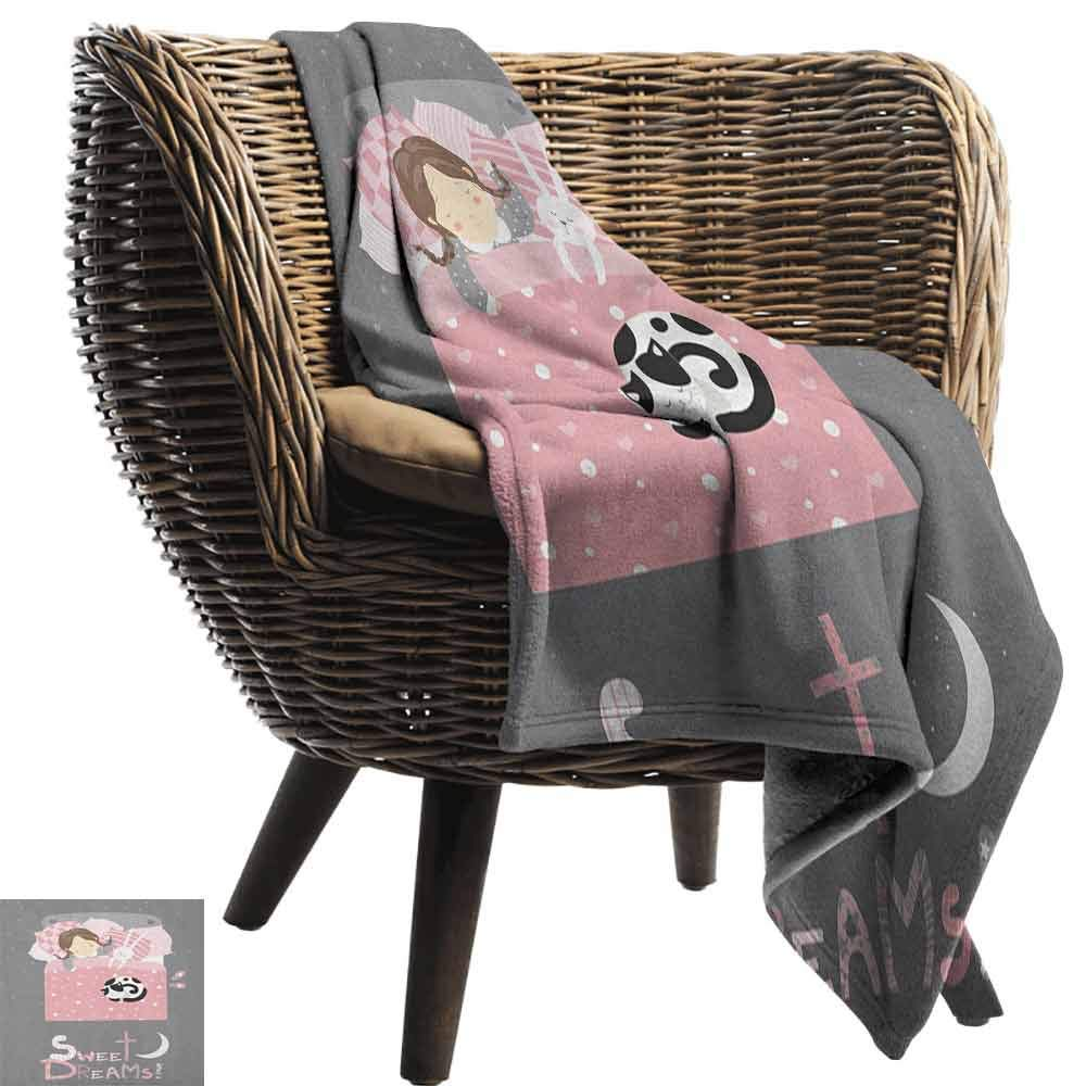 Sweet Dreams Throw Blanket,Girl Sleeping with a Bunny and a Cat Cartoon Style Night Time Themed Image Velvet Plush Throw Blanket,50'' Wx70 L Multicolor by Custom&blanket (Image #2)