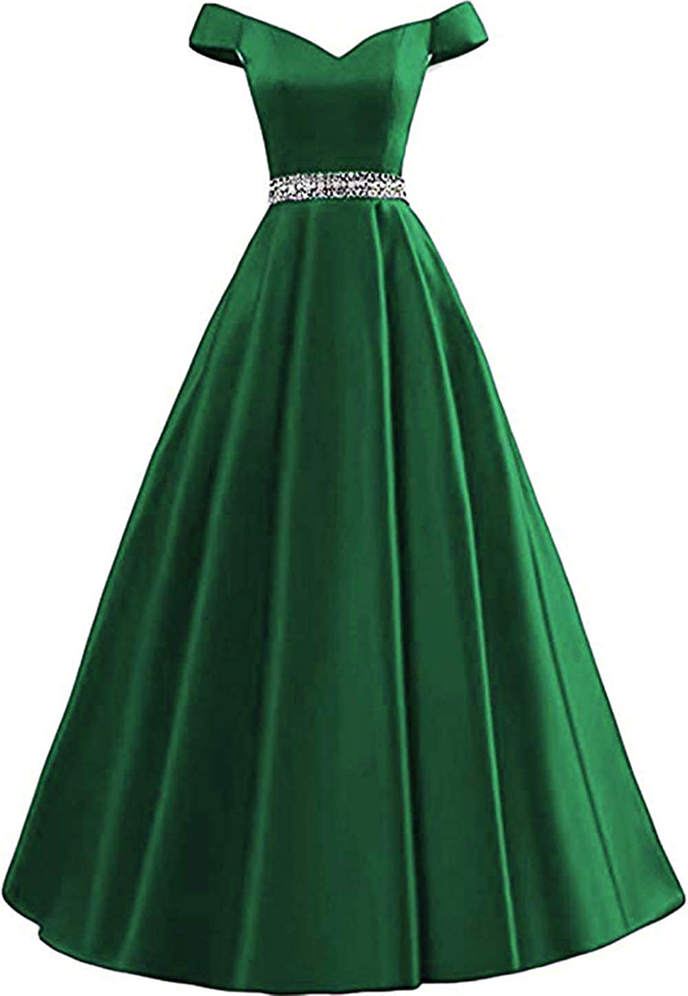 Green Rmaytiked Women's Off Shoulder Prom Dresses Long 2019 Satin Beaded A Line Formal Evening Ball Gowns with Pockets