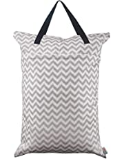 ALVABABY Large Wet Dry Bag,Waterproof Hanging Cloth Diaper with Double Zippered Pockets (25x18 inches) HL-S33-CA