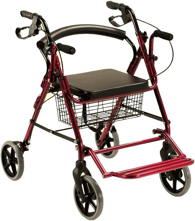 Queraltó Andador Rollator y Silla de Ruedas para Ancianos 2 en 1, Rojo: Amazon.es: Salud y cuidado personal