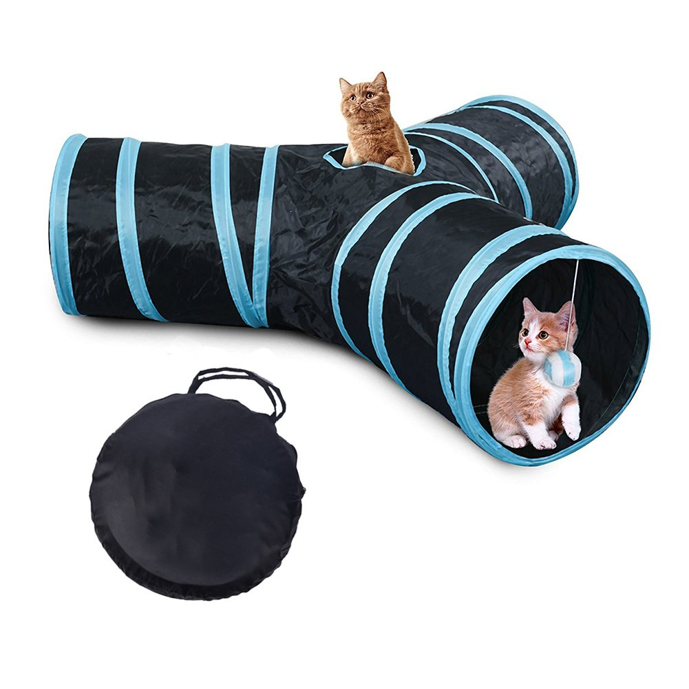 Bello Luna 3-Way Cat Tunnel Collapsible Pet Play Fun Tube Tunnel with Carrying Case for Cat, Puppy, Kitty, Kitten, Rabbit