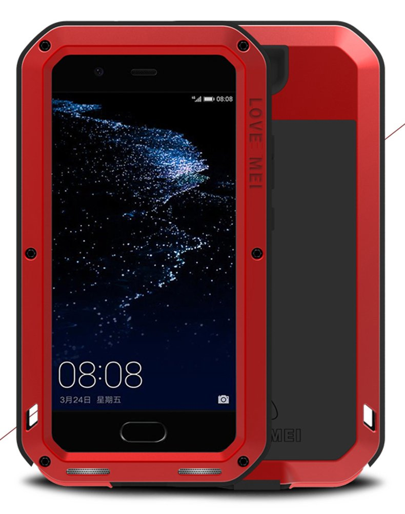 Case for HUAWEI P10 Plus (5.5 inch), LOVE MEI Brand Waterproof Shockproof Dustproof Powerfull Aluminum Metal with Built-in Tempered Glass Cover [Two-Years Warranty] Red