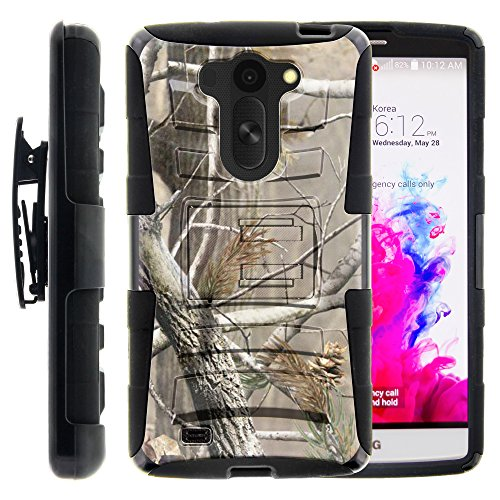 LG Vista Case, LG Vista Holster, Two Layer Hybrid Armor Hard Cover with Built in Kickstand and Art Pattern Designs for LG G Vista D631, LG G Pro 2 VS880 (AT&T, Verizon) from MINITURTLE | Includes Screen Protector - Hunter Camouflage
