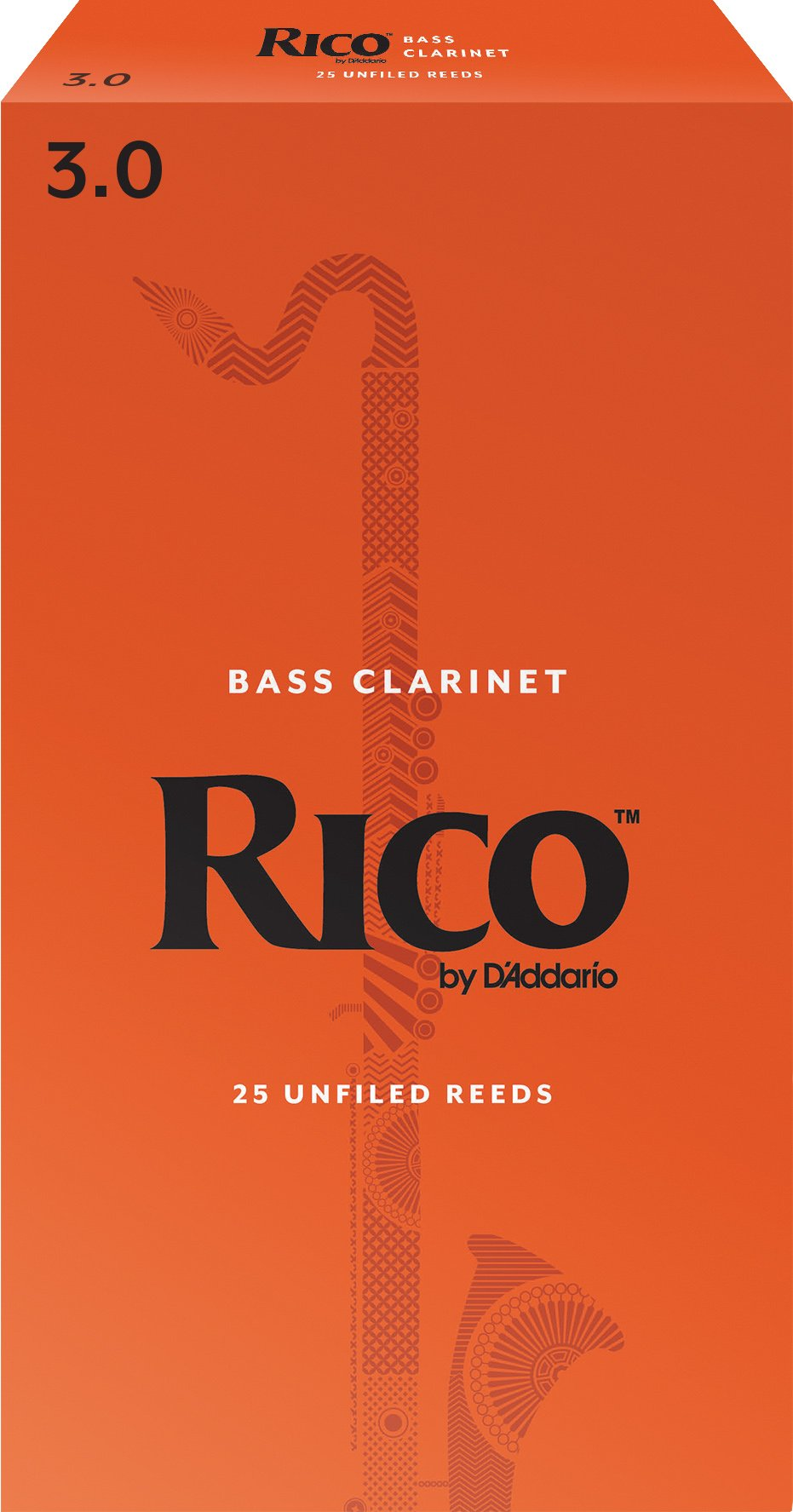 Rico by D'Addario Bass Clarinet Reeds, Strength 3.0, 25-pack