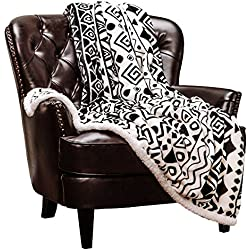 "Chanasya Modern Cave Art Ethnic Tribal Print Fleece Sherpa Throw Blanket - Super Soft Snuggly Cozy Fluffy Microfiber Luxurious Plush for Sofa Couch Bed (50"" x 65"") - White and Black"