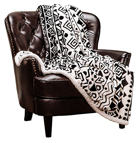 Chanasya Super Soft Ultra Plush Cave Art Ethnic Tribal Print Sherpa White and Black Sofa Couch Bed Microfiber Throw Blanket(50