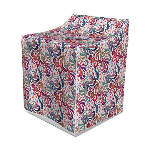 Lunarable Paisley Washer Cover, Sixties Inspired Colorful Eastern Motifs Iranian Ottoman Art Design Flowers Leaves, Decorative Accent for Laundromats, 29