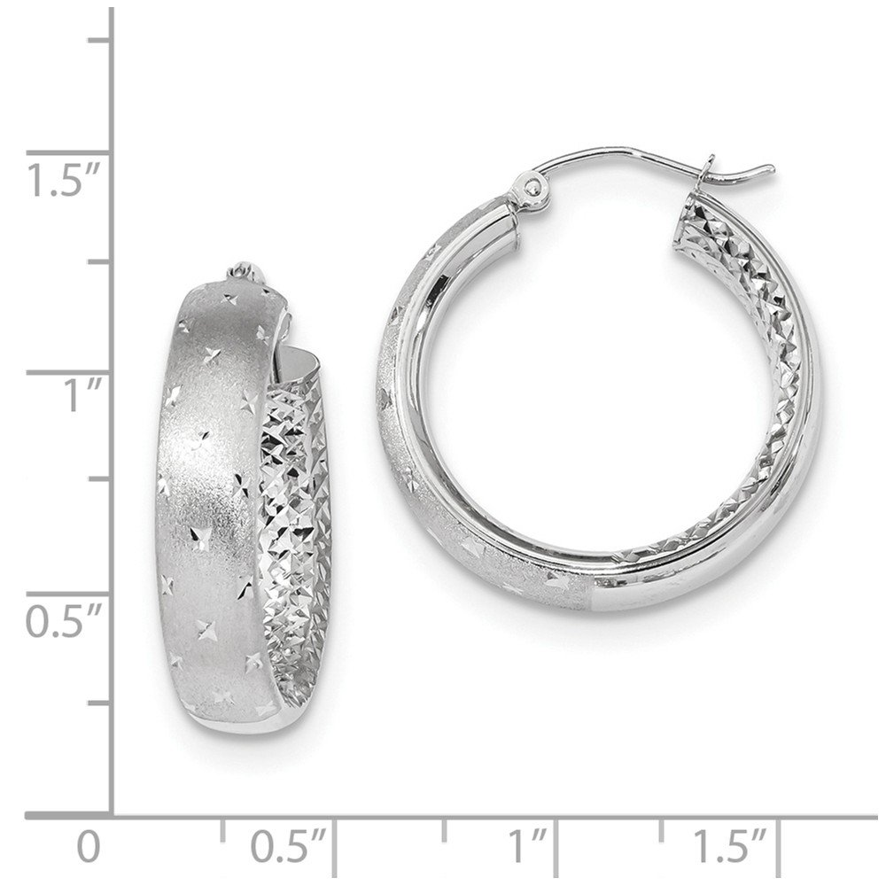 Mia Diamonds 14k White Gold Polished Satin and Diamond-Cut In//Out Hoop Earrings