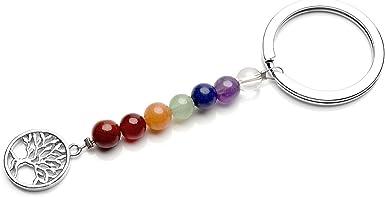 Genuine Semiprecious beads Healing Chakra Zipper Charm Keychain