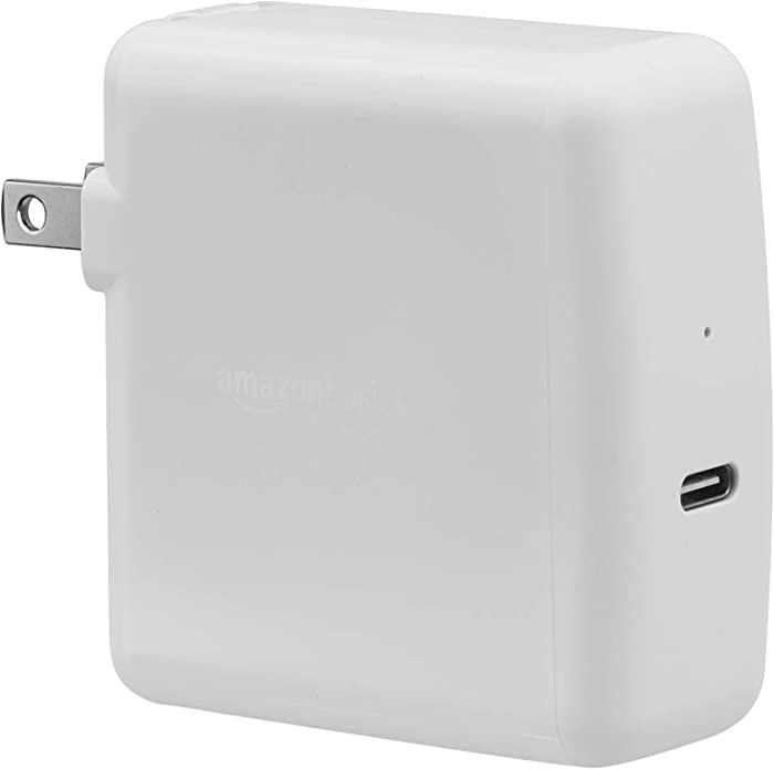 AmazonBasics 65W One-Port USB-C 3.0 Wall Charger for Laptops, Tablets and Phones - White