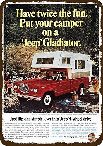"onepicebest 1966 Jeep Gladiator 4x4 Pickup Truck & Camper Vintage Look Replica Metal Sign 7"" x 10"""
