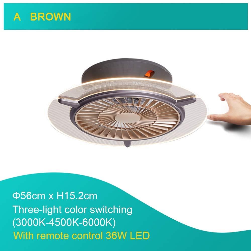 Ventilador con l/ámpara LED de 36W Ventilador de techo con l/ámpara y control remoto Ajuste de la velocidad del viento y 3 colores claros Ventilador con funci/ón de gu/ía de viento para dormitorio