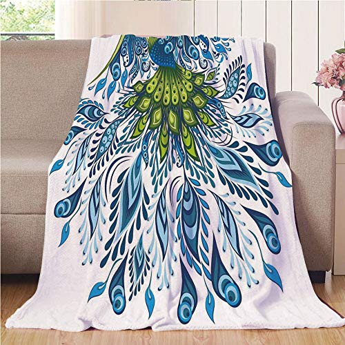 Care Bird Exotic (Blanket Comfort Warmth Soft Air Conditioning Easy Care Machine Wash House,Peacock,Abstract Exotic Bird Figure with Stylized Long Tail and Wings Floral Swirled Leaves,Blue Green,47.25