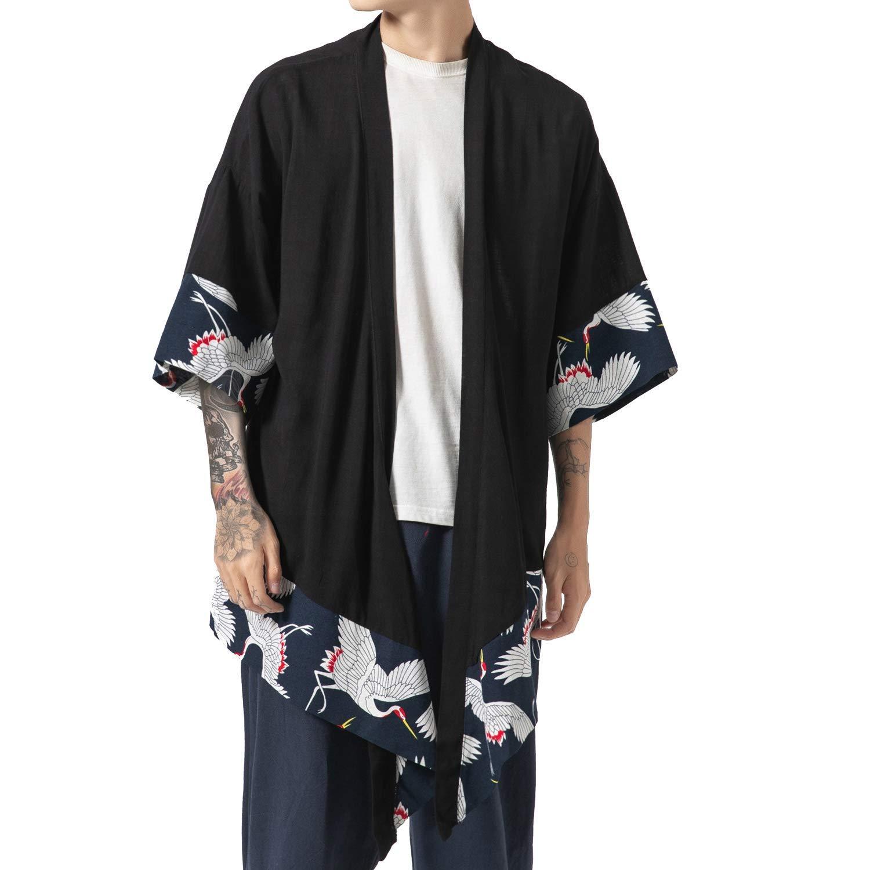 PRIJOUHE Men's Kimono Jackets Cardigan Lightweight Casual Cotton Blends Linen Seven Sleeves Open Front Coat Outwear D-Black by PRIJOUHE