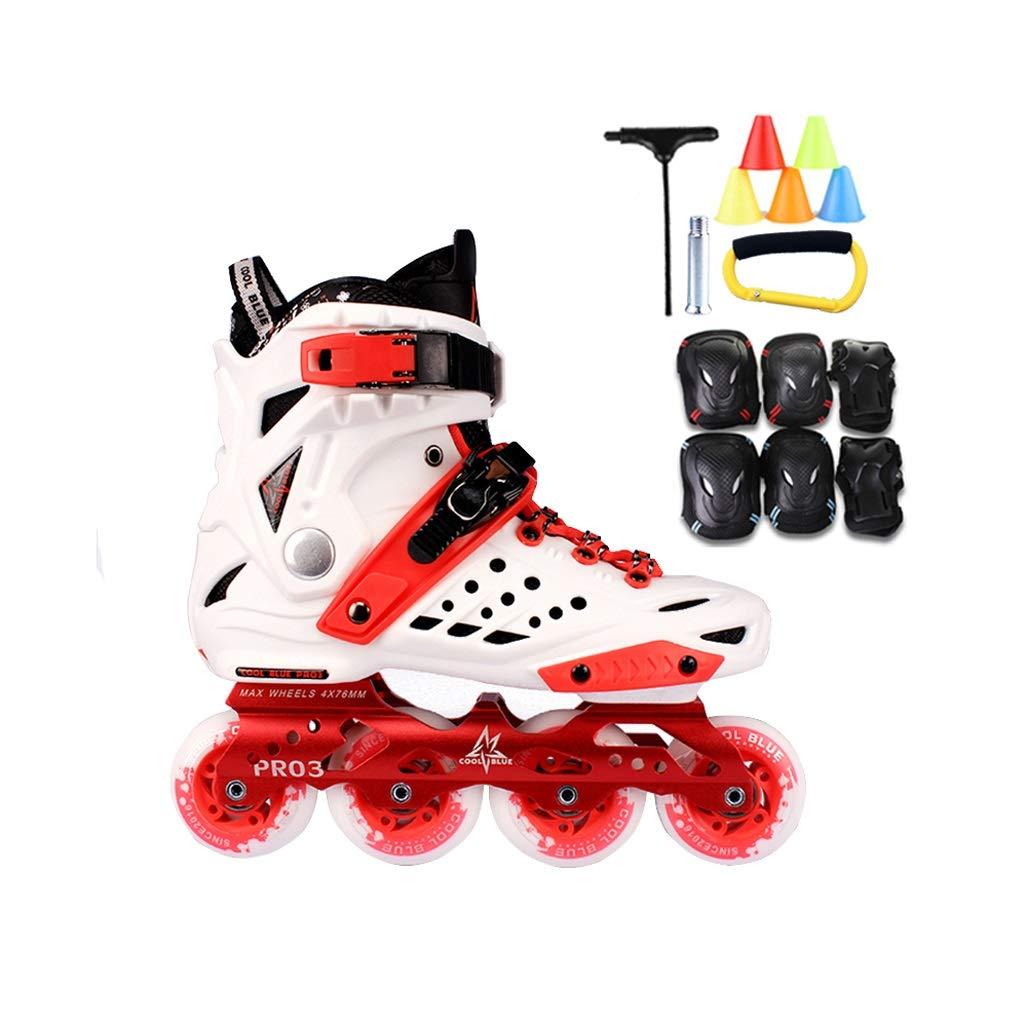 Ailj インラインスケート、 大人用1列スケート ローラースケート プロの男性と女性のスケート フルセット(白赤) (色 : Red+B, サイズ さいず : 42 EU/9 US/8 UK/26cm JP) B07MV8BRW2 39 EU/7 US/6 UK/24.5cm JP|Red+B Red+B 39 EU/7 US/6 UK/24.5cm JP