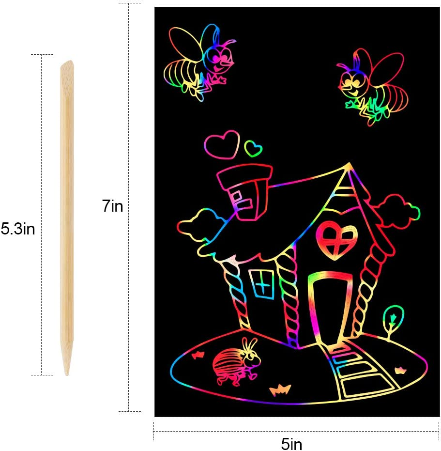 Mocoosy 60Pcs Scratch Art Paper Set Rainbow Magic Scratch Paper Craft Kit For Kids Black Scratch off Notes Include 5 Wooden Stylus 4 Drawing Stencils for Birthday Party Favor Game Activities