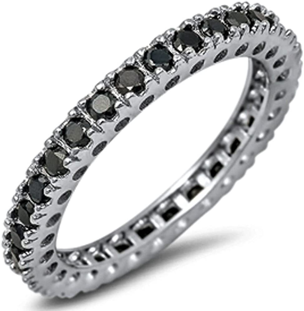 Brightt New Eternity Band Cubic Zirconia .925 Sterling Silver Ring Sizes 4-12