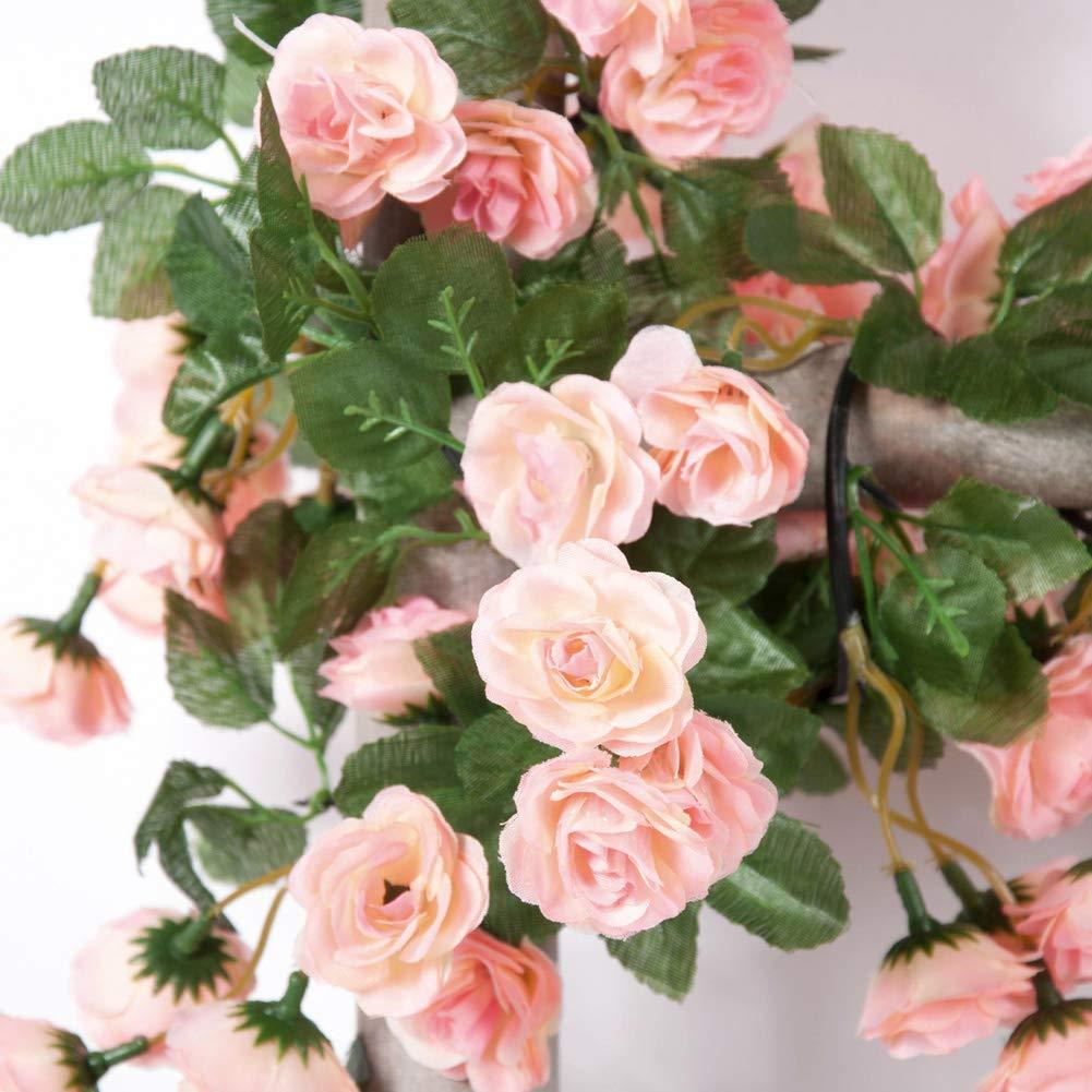 5 pack Fake Rose Vine Flowers Plants Artificial Flower Hanging Rose each 8.2FT