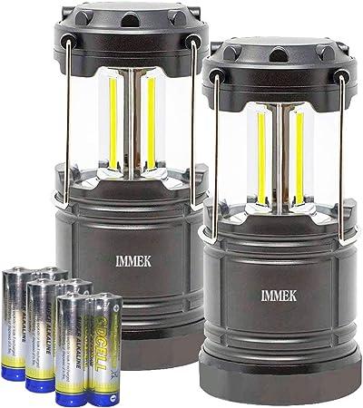 IMMEK Lámpara Camping COB LED (2Pack) Plegable con Imanes y Gancho, Linterna Portátil a Pilas para Aficionados de Pesca, Montaña y Otros Actividades ...