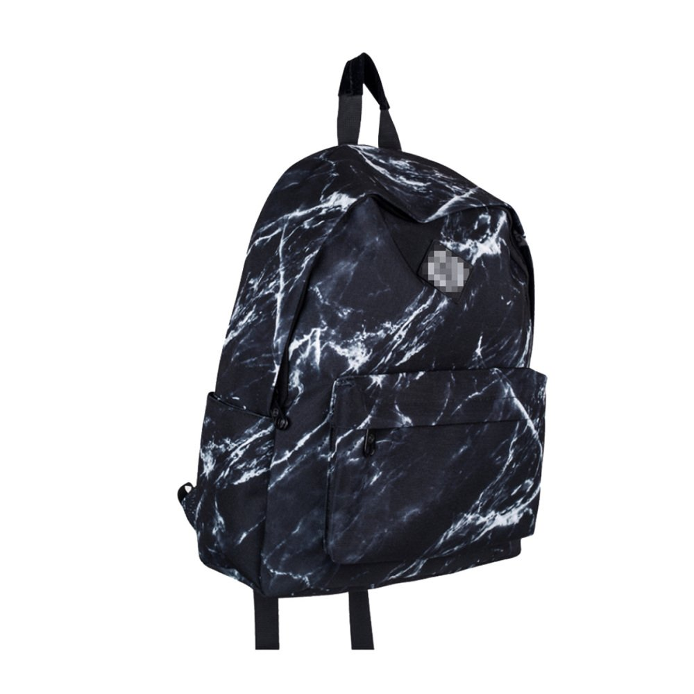 Black M Unisex Retro Stone Print Shoulder Bag Waterproof Schoolbag Campus Style Pack Sports Backpack