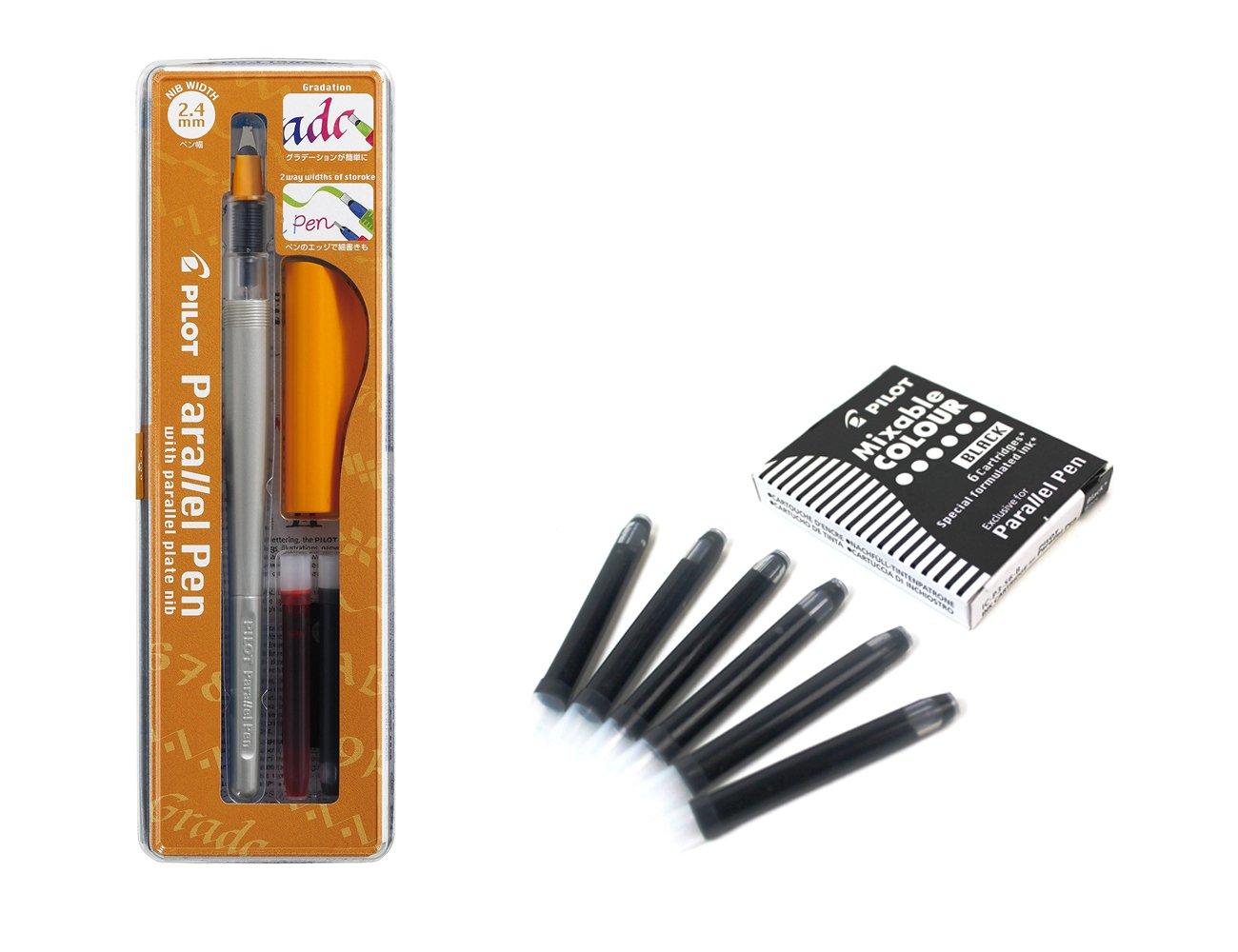 Pilot Parallel Pen - Set calligrafico con 1pennino con punta da 2,4mm, ricaricabile + scatola con 6ricariche, colore nero Pilot.