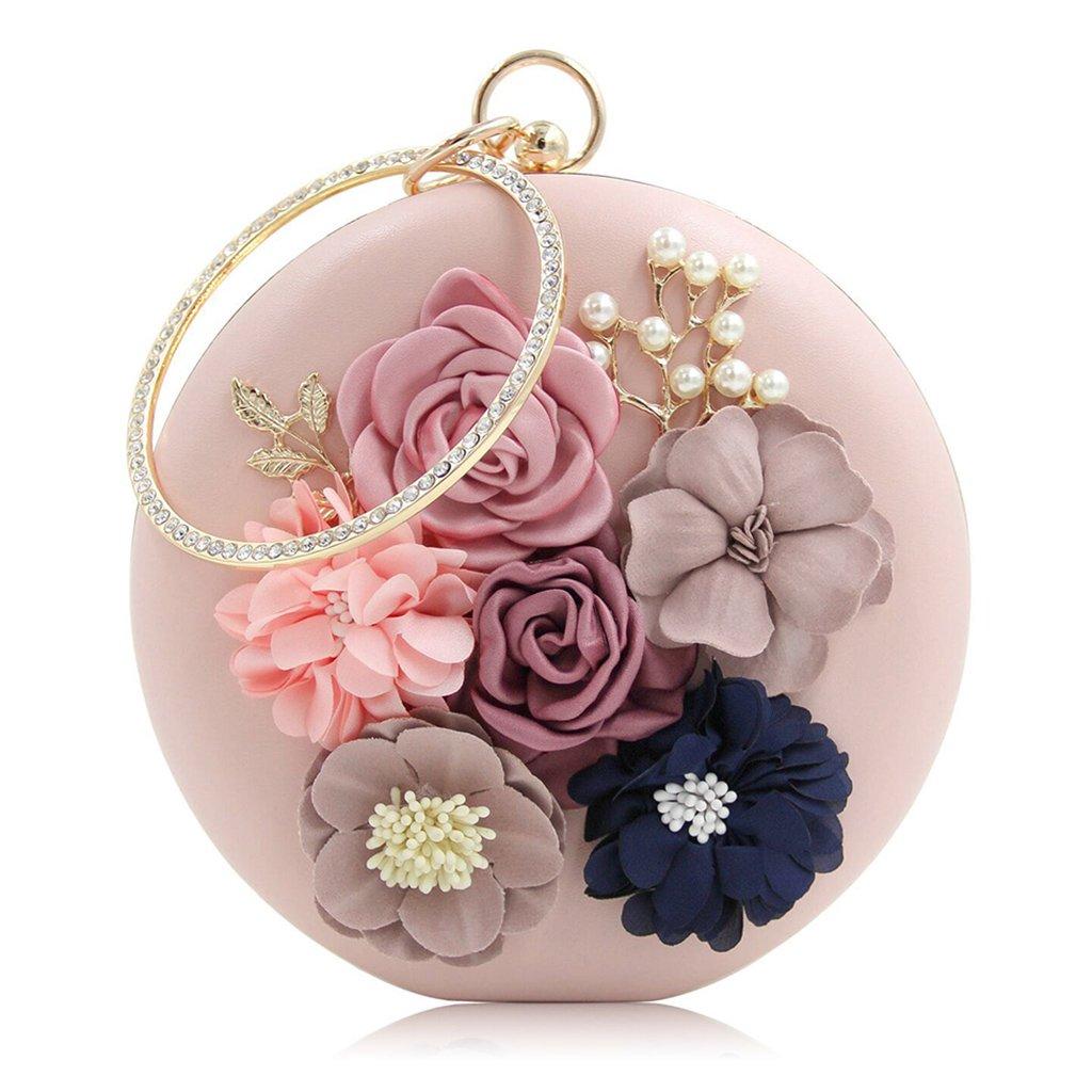 JAGENIE Chic Women Evening Bag Round Flower Dinner Party Wedding Clutch Shoulder Handbag Pink