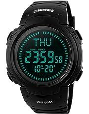 farsler multifunción de los hombres 50 m impermeable brújula gran Dial reloj mundo reloj de tiempo