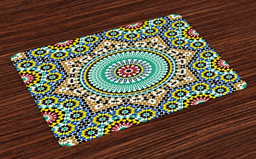 Lunarable Moroccan Place Mats Set of 4, Architectural Glaze Wall Tile Ceramic Historical Ancient Traveling Destinations, Washable Fabric Placemats for Dining Room Kitchen Table Decoration, -