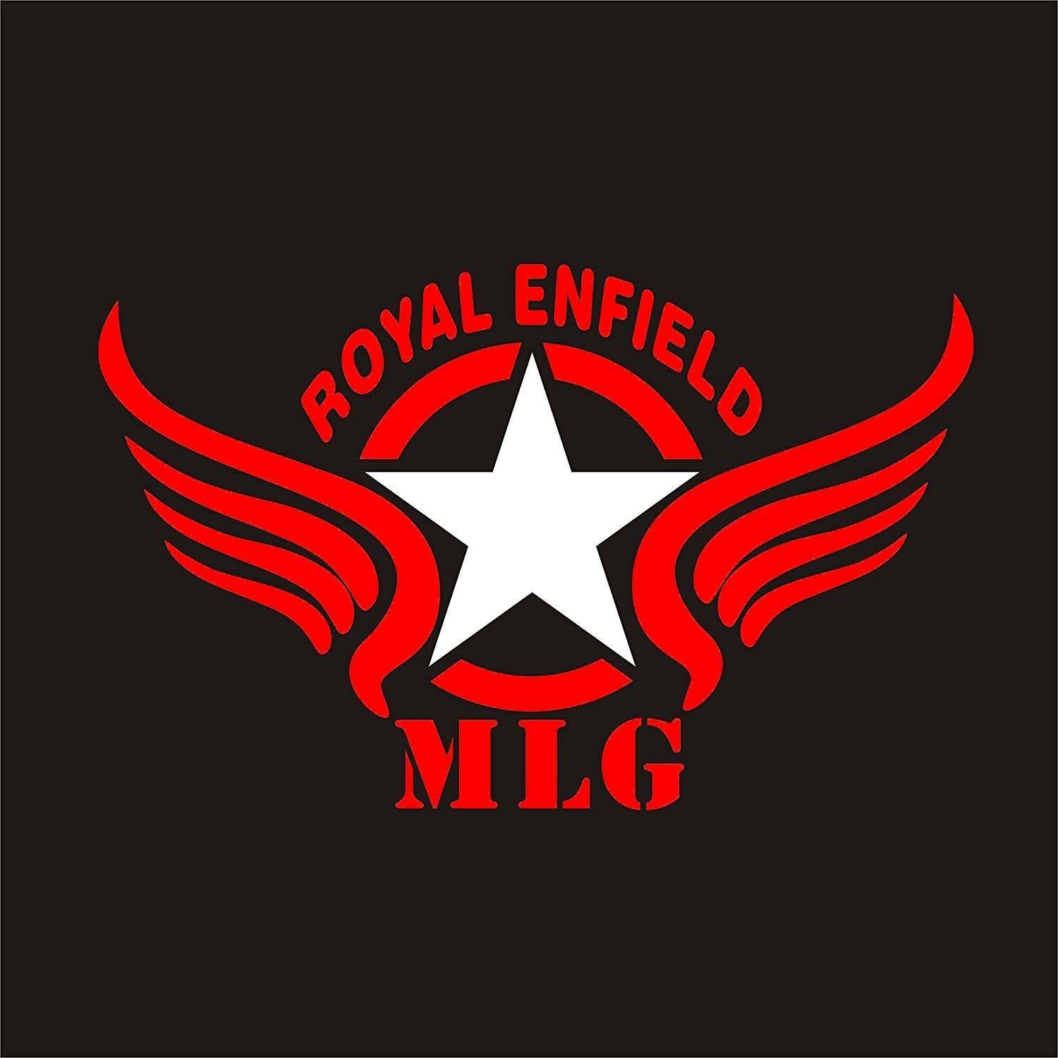 Star Wings E2 Customized Royal Enfield Sticker_ Red & White Standard Size For Sides Tank,Battery Cover