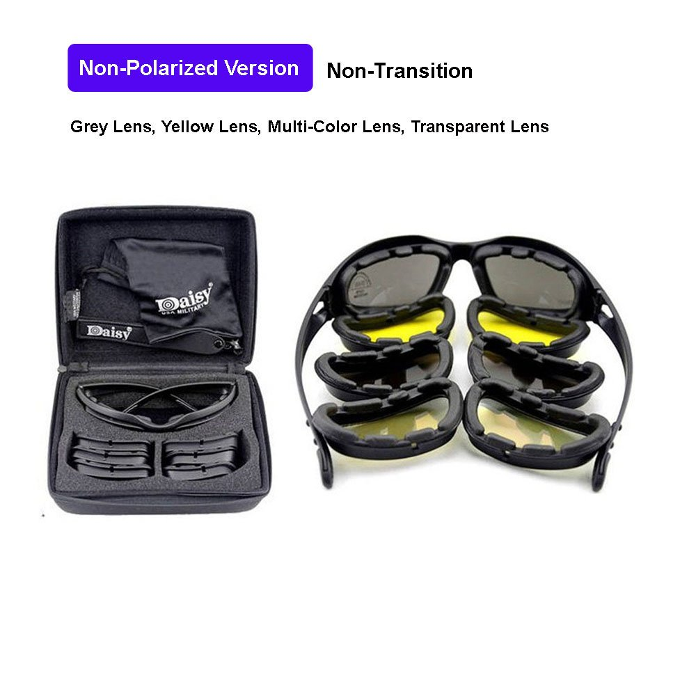 ab0368441592 EnzoDate Daisy C5 Military Goggles Transition Polarized 4 Lens Kit Outdoor  Sports Motorcycling Glasses War Game Army Sunglasses